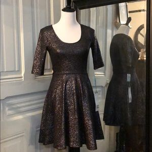 Pewter stretchy fit and flare dress